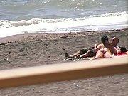 Outdoor public nip beach blowjob tits